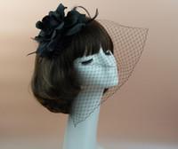big hair photos - Bridal women Top Hat Cap Mesh Bow Net Veil Feather big Flower Fascinator party wedding headwearTiaras Photo props charm hair jewelry hotsell
