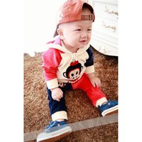baby monkey pants - Spring Autumn Design Baby Velvet Monkey Printed Hooded Jacket Pant Clothing Suit