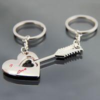 arrow keychain - Alloy Keychain Cupid arrow couple key chain lovers pendant key ring key chain for lovers