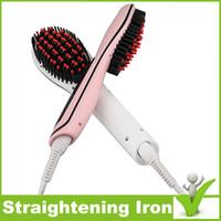 Wholesale Fast Hair Straightening Irons Comb Hot Pink White Straightener brush Straightener Iron Brush EU UK US Plug LCD Digital beautiful Star