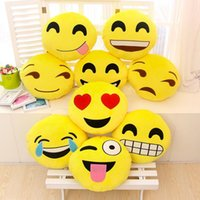 Wholesale 19 Styles Diameter cm Cushion Cute Lovely Emoji Smiley Pillows Cartoon Cushion Pillows Yellow Round Pillow Stuffed Plush Toy