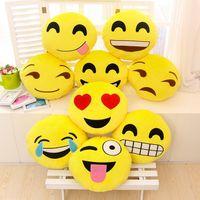 Wholesale 19 Styles Diameter cm Cushion Cute Lovely Emoji Smiley Pillows Cartoon Cushion Pillows Yellow Round Pillow Stuffed Plush Toy