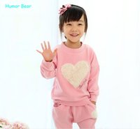 baby humor - Hot Humor Bear love clothing kids girls clothes sets baby girl long sleeve pant set Children love sports kids clothing sets