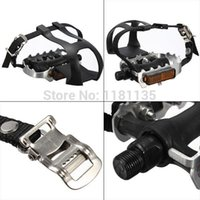 Wholesale Alloy Cycling Fixie Road Mountain Bike Bicycle Pedals Toe Clips Straps Black Designed For Road Bike Use