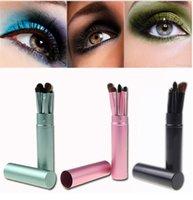 Wholesale HOT product Wholesales Professional Pony Hair Eyeshadow Brushes Set Eye Makeup Tool Cosmetic Kit with Round Tube