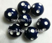 navy acrylic beads 20mm - 100PCS Navy blue Color MM Acrylic Polk Dot Beads Acrylic Round Chunky Beads for Chunky Necklace Jewelry