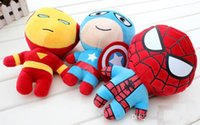 Wholesale 2015 hot the avengers plush toy Captain America Spider Man Iron Man q version stuffed dolls soft toys set figures the avengers style