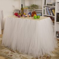 Cheap 2015 Custom Made Tutu Table Skirt for Banquet 91.5*80cm Party Wedding Birthday Tutu Table Skirts with Flowers in Pink Red White Purple