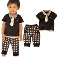 Cheap 2013 summer baby boy gentleman set bow tie t-shirt+plaid pants two-piece baby boy casual campus suit children' s clothing kids
