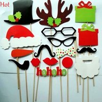 Wholesale 17Pcs DIY Photo Booth Props Mustache Glasses Hats Stick Wedding Christmas New Year Party Accessories Mask Funny Photograph Tools SV011689