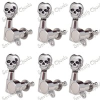 Wholesale A Set R Inline Guitar Tuning Pegs Tuner Machine Heads for Electric Guitar Replacement Chrome Skull Buttons QFB KL CR R