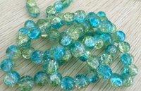 aqua green glass - 50pcs mm Aqua Blue Green Crackle Glass Round Beads B061