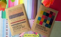 Wholesale Freeshipping NEW pack Colorful printed solid fabric sticker set DIY Note Decoration label Multifunction
