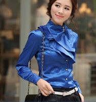 Wholesale 2016 European and American Hot sexy emulation silk blouses collar t shirt bottoming shirt S XL