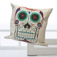 Cheap Wholesale-Bed Sofa Car Square Colorful Skull Throw Cushion Pillow Case Cover Home Decor