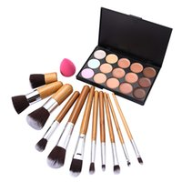 bamboo sponge - 15 Colors Face Concealer Camouflage Cream Contour Make Up Palette Sponge Puff PC Bamboo Brush Set PTSP