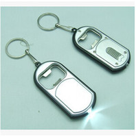 plastic flashlight - 300pcs CCA1918 Hot New Arrival Creative Vintage in LED Flashlight Torch Keychain With Beer Bottle Opener Key Ring Chain Keyring