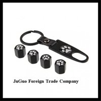 bear tire cover - GPS caps sets automobile wheel tire tyre valve cover black color caps with leather keychain for bear paw print car badge