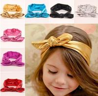 baby blue ribbon - New Cute Baby Girl Hair Bands Infant Kids Bow Princess Headwrap Elastic Metallic Lustre Hair Ribbon Hairband Children Hair Accessories