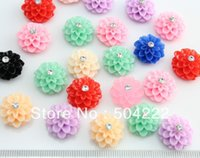 bamboo projects - 200pcs lovely dalia mum flower with rhinestone cute resin Cabochon for Kawaii Decoden DIY Projects mm