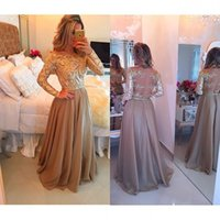 Wholesale Two Colors Long Sleeve Prom Dresses Off the Shoulder Chiffon Gold Lace Beading Evening Dress A Line Formal Special Occasion Gowns