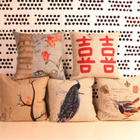 Wholesale 45 cm High grade Thick Hemp Printing Pillow Elephant Flower Birds Sofa Cars Cushions Back Squab Cushion Covers attractive in price
