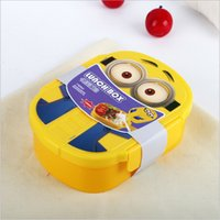 baby spoon case - 96 BBA4199 ml Kids Despicable Me Lunch Box Bento Case with Spoon Dinnerware Set Minions Bowl baby Cartoon Lunch box Christmas gift