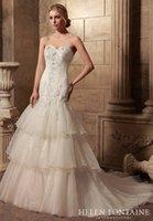 Wholesale 2016 Vestidos De Novia New Outdoor Wedding Gowns Long Mermaid Sweetheart Beaded Tiered Organza Corset Back Bridal Gowns HFW10186