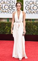 award belts - 2015 nd Golden Globe Awards Celebrity Dresses Louise Roe A Line Chiffon White Halter Sleeveless Floor Length Belt Prom Red Carpet Dress