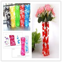 Wholesale Environmental Protection PVC Plastic Foldable Vase Flowers Jardiniere Home Decals Creative Mixed Colors Hot Sale NAR019
