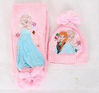 Wholesale 2014 new design baby girls Frozen Scarf hat Hat set kids Snow Queen Elsa Anna scarves Winter warm cap princess scarf pc