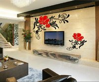acrylic nature paintings - New arrival Paintings flowers Acrylic crystal three dimensional wall stickers Tv background bedroom d wall stickers
