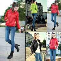 ladies quilted winter coat - 2015 Women Winter Short Slim Hoodies Down Parkas Quilted Candy Color Zip Thin Coats Outerwear hoody Jackets Ladies