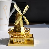 Wholesale Gold Metallic Steel Nano High Quality Convenient D Windmll Jigsaw Puzzle Metal Model Cheap Kids Toy Gifts