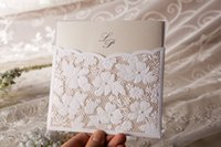 Wholesale EMS Vintage Elegant Lace Cutout Wedding Invitations Cards in White Customized and Printing Set of New
