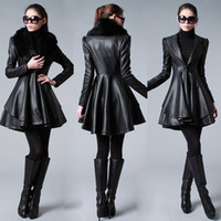 fashion leather jacket - 2014 Real Image Cheap Outerwear Coat Black New women fashion fur collar and long Sections Leather Coats Jackets Long Sections LUSH Y