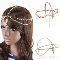 Wholesale Fashion Gold Multi Pearl Chain Bead Crown Tikka Head Hair Cuff Headband Headpiece for Women ST4