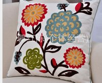 sofa cover - pastoral flower embroidered Cushion Cover almofadas Sofa Bedding Office Throw Pillow Home Decoration x45cm
