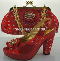 Wholesale Item No ME0097 Attractive RED Italian style shoes with bags to match African shoes and bag sets with stones for wedding dress