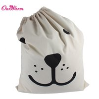 Wholesale Beige Canvas Storage Bag Laundry Bag Toys Pouch with Bear Pattern Optional Home Storage Organization
