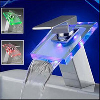 LED Faucet - NO NEED BATTERY Water powered LED GLASS Waterfall Faucet basin Mixer Tap DHL