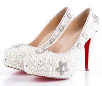 Cheap 2015 Luxury Wedding Shoes White Pearl Crystal High-heeled White Elegant Party Prom Wedding Bridal Bridesmaid Dress Shoes Fashion Decoration