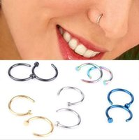 Wholesale New Arrival boby jewelry Medical Titanium Nose Hoop Nose Rings Body Piercing Jewelry Colors Drop Shipping BY0000
