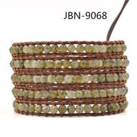 5 paires de bracelets en agate india bijoux à l'infini bijoux bracelets de charme enroulent les bracelets en manchette en cuir pour hommes 3pcs / lot JBN-9068