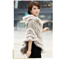 Wholesale women rabbit fur coat jacket Knitted Genuine rabbit Fur poncho Shawl Wrap with hood retail new