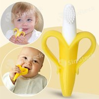 Wholesale Baby Bananas Teethers Baby Teething Rings Bite Silicone Dental Care Oral Hygiene Kids Banana Shape Toothbrush Without BPA Free DHL Factory