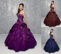 ball racks - Off The Rack Cheap Quinceanera Dresses Strapless Purple Royal Blue Burgundy Taffeta Ruffles Ragazza Debutante Sixteen Ball Gowns
