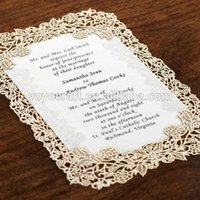 Wholesale Simple laser cutting flower lace decorating wedding invitations with envelope