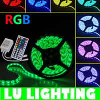 Wholesale 5M LED Strip Light RGB SMD LEDs RGB Flexible Strip Lighting Waterproof With key IR Remote Controller