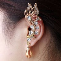 Wholesale 2016 Outstanding Silver Plated Cute Butterfly Rhinestone Ear Cuff Clip Cartilage Earring Fashion Accessories